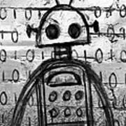 Robot Graffiti 2 Of 6 Art Print