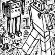 Robot Sketch 6 Of 6 Art Print