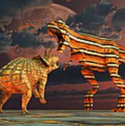 Robotic T. Rex & Triceratops Battle Art Print