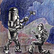 Rocket Man And Robot Art Print