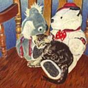 Rocking With Friends - Kitten And Stuffed Animals Painting Art Print