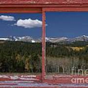 Rocky Mountain Autumn Red Rustic Picture Window Frame Photos Art Art Print