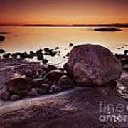 Rocky Shore At Twilight Art Print