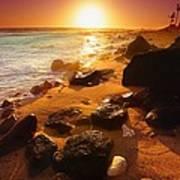 Rocky Shoreline In Hawaii Art Print