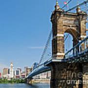 Roebling Bridge To Cincinnati Art Print