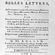 Rollin: Title Page, 1769 Art Print