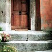 Roman Door And Steps Rome Italy Art Print