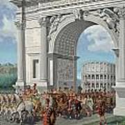 Roman Soldiers Lead Chained Captives Art Print
