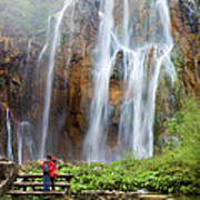 Romantic Scenery By The Waterfall Art Print