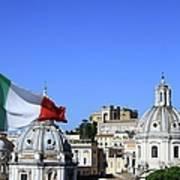 Rome Skyline With Italian Flag Art Print