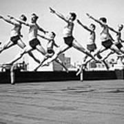 Rooftop Dancers In New York Art Print