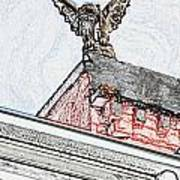 Rooftop Gargoyle Statue Above French Quarter New Orleans Colored Pencil Digital Art Art Print