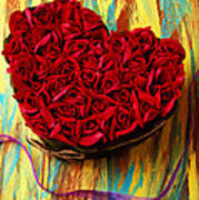 Rose Heart And Ribbon Print by Garry Gay