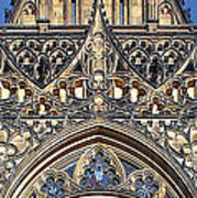 Rose Window - Exterior Of St Vitus Cathedral Prague Castle Art Print by Christine Till