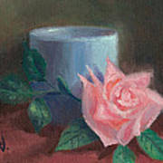 Rose With Blue Cup Art Print