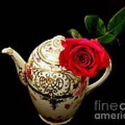 Rose With China Teapot Art Print