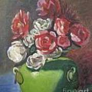 Roses And Green Vase Print by Lilibeth Andre