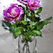 Roses In A Jar Art Print