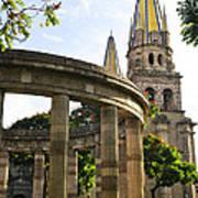 Rotunda Of Illustrious Jalisciences And Guadalajara Cathedral Art Print