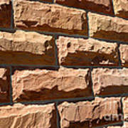 Rough Hewn Sandstone Brick Wall Of A Historic Building Art Print