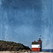 Round Island Lighthouse In Michigan Art Print