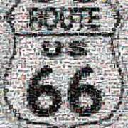 Route 66 Coke Ford Mustang Mosaic Art Print