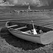Row Boat On The Shore Of Lake Ontario In Toronto Art Print