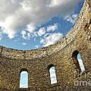 Ruin Wall With Windows Of An Old Church  Art Print by Sandra Cunningham