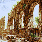 Ruins Of Roman Aqueduct, 18th Century Art Print