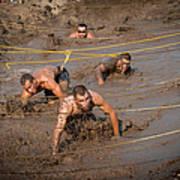 Runners Navigate An Obstacle Course Art Print