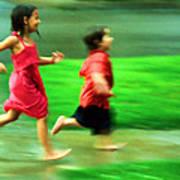 Running In The Rain Art Print