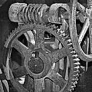 Rust Gears And Wheels Black And White Art Print