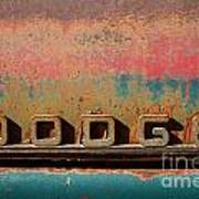 Rusted Antique Dodge Car Brand Ornament Art Print