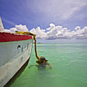 Rustic Fishing Boat Of Aruba Art Print