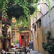 Rustic Greek Cafe Art Print