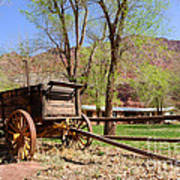Rustic Wagon At Historic Lonely Dell Ranch - Arizona Art Print