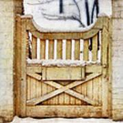 Rustic Wooden Gate In Snow Art Print