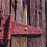 Rusty Barn Door Hinge  Art Print by Garry Gay