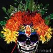 Sacred Heart Sugar Skull Mask Art Print by Mitza Hurst