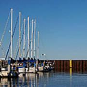 Sailboat Docking By Break Water Wall Art Print