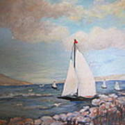 Sailboating In The Carribean Art Print
