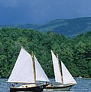 Sailboats And Darkening Sky, Lake Art Print