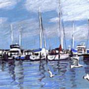 Sailboats And Seagulls Art Print