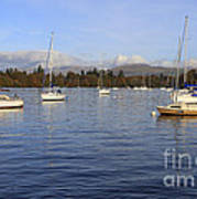 Sailboats At Anchor In Bowness On Windermere Art Print