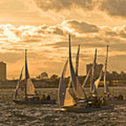 Sailboats On Lake Ontario At Sunset Art Print