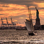 Sailing To Liberty  Art Print