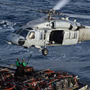 Sailors Attach Pallets Of Supplies Art Print