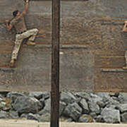 Sailors Crawl Across Narrow Planks Art Print