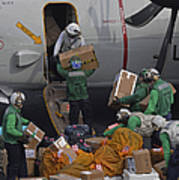 Sailors Load Mail On To A C-2a Art Print