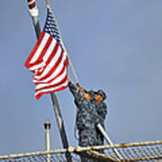 Sailors Lower The National Ensign Art Print